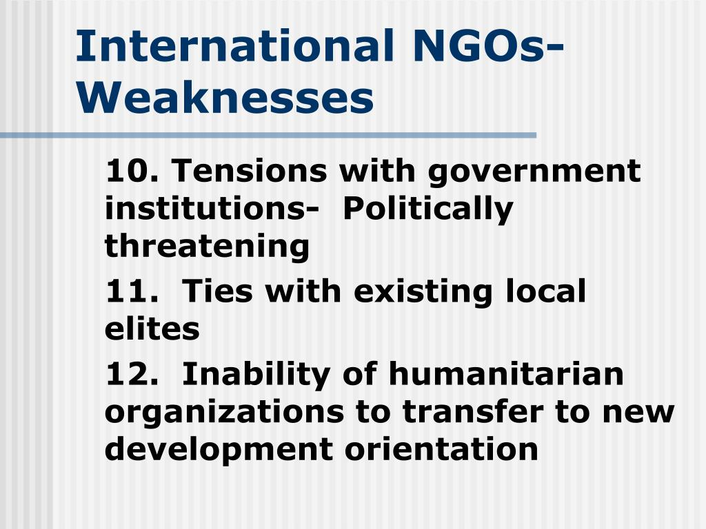 International NGOs- Weaknesses