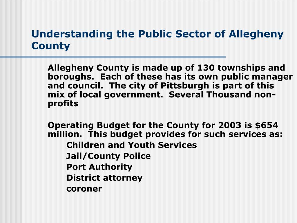 Understanding the Public Sector of Allegheny County