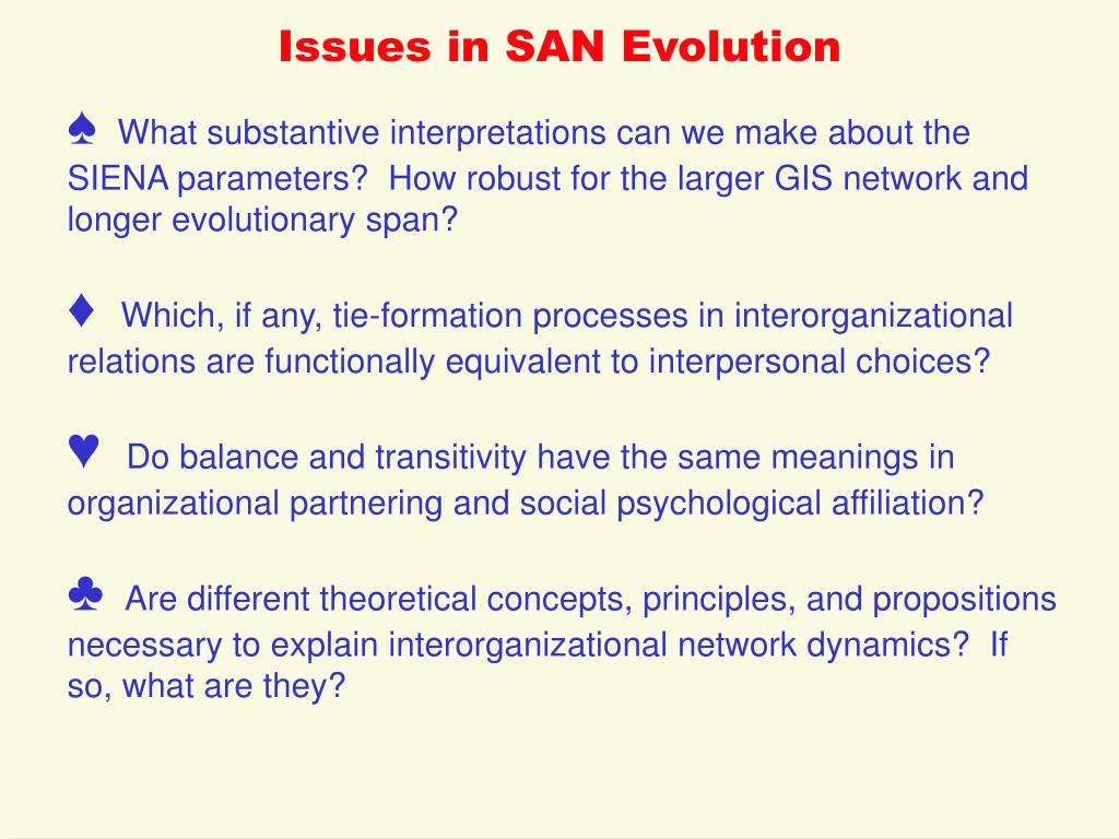 Issues in SAN Evolution