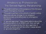 amateurs as professionals the served agency relationship