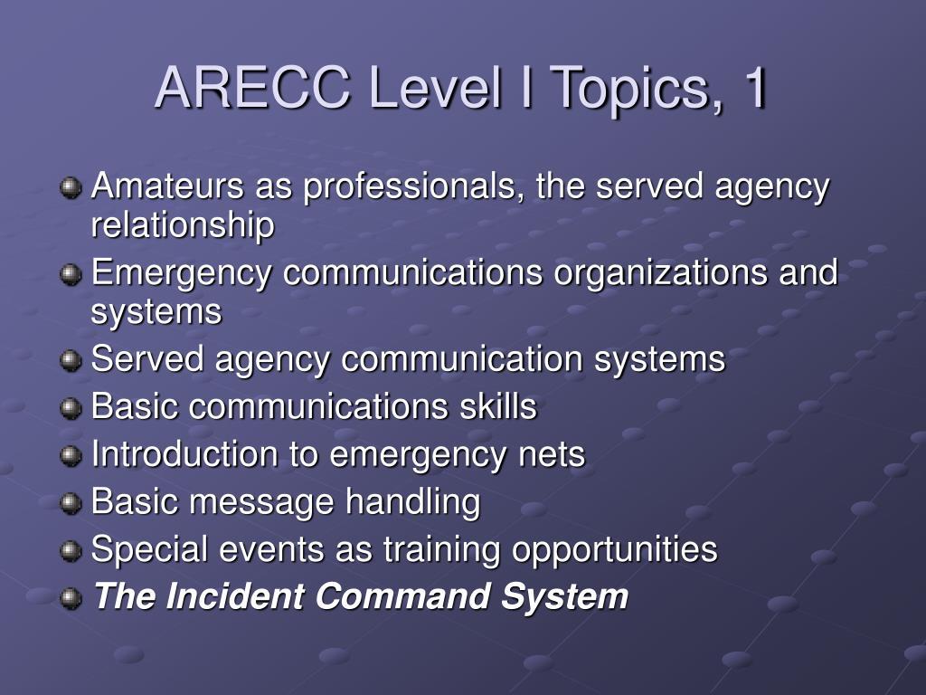 ARECC Level I Topics, 1
