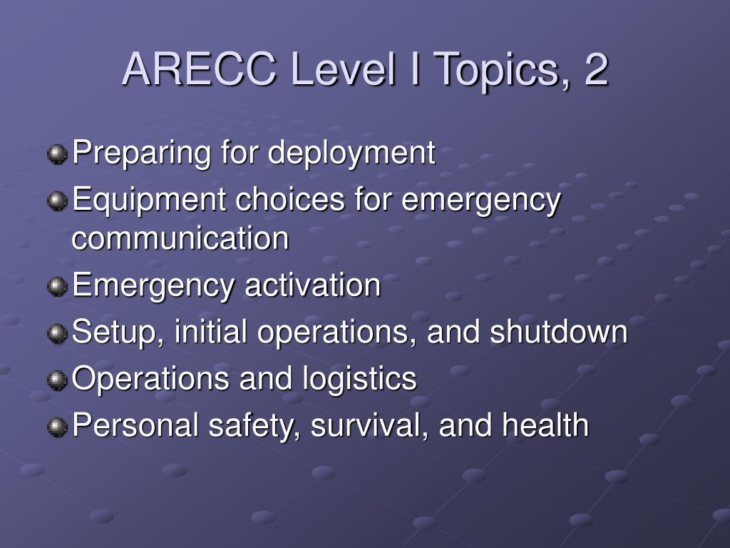 ARECC Level I Topics, 2
