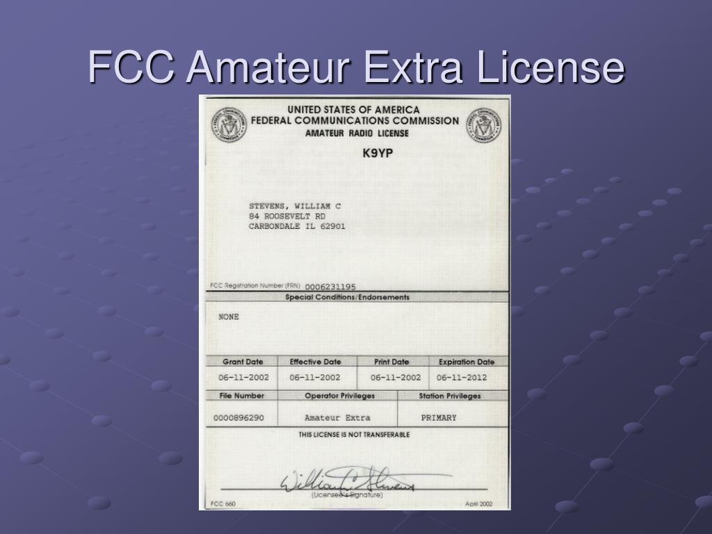 FCC Amateur Extra License