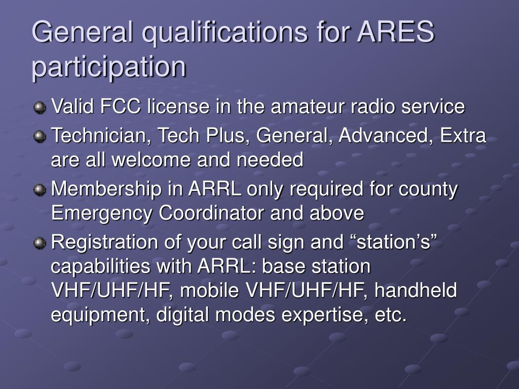 General qualifications for ARES participation