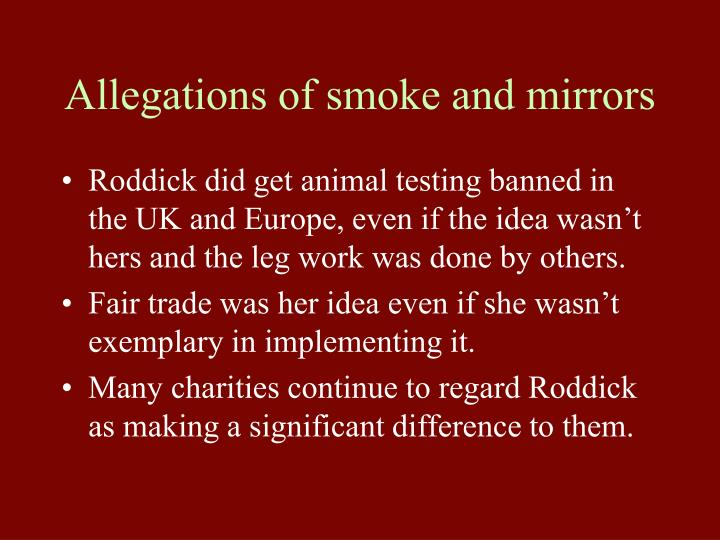 Allegations of smoke and mirrors