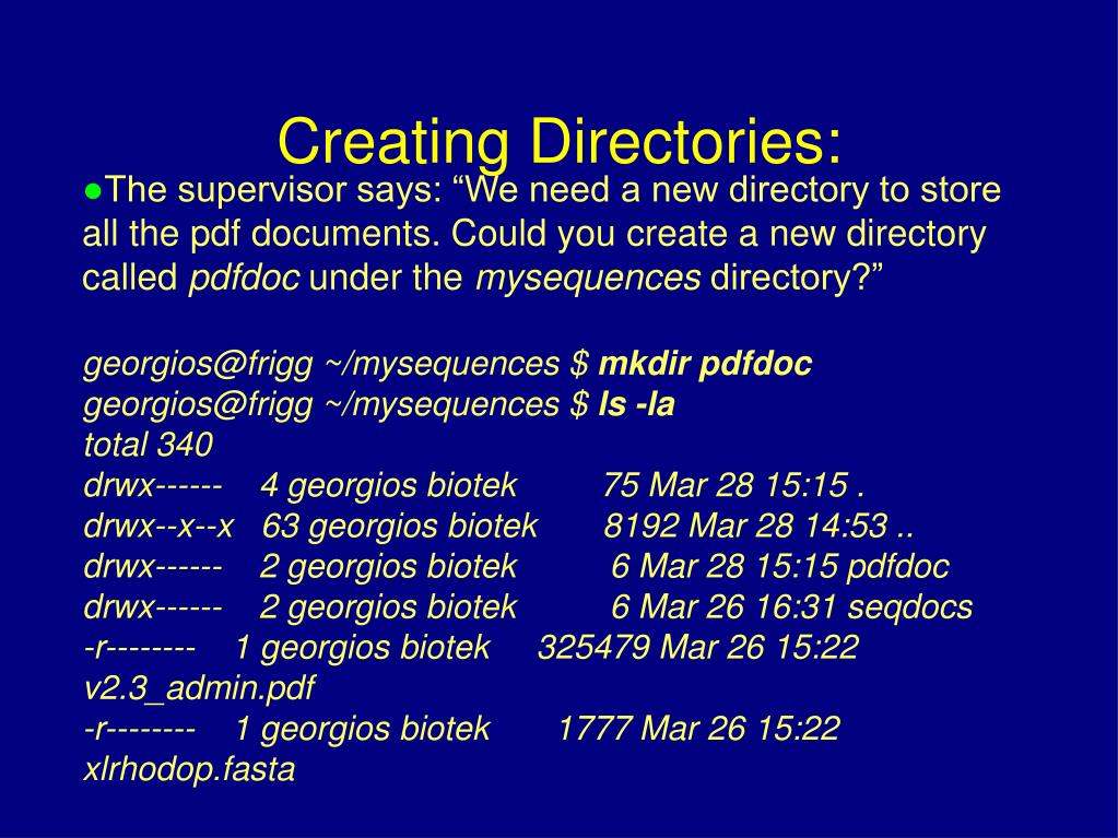"The supervisor says: ""We need a new directory to store all the pdf documents. Could you create a new directory called"