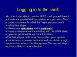 logging in to the shell