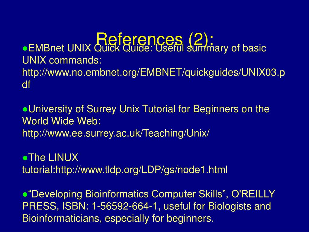 EMBnet UNIX Quick Quide: Useful summary of basic UNIX commands: