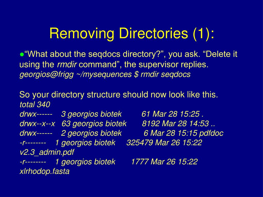 """What about the seqdocs directory?"", you ask. ""Delete it using the"