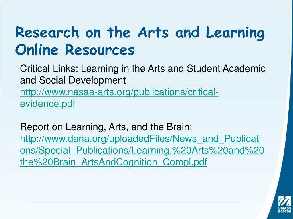 Research on the Arts and Learning Online Resources