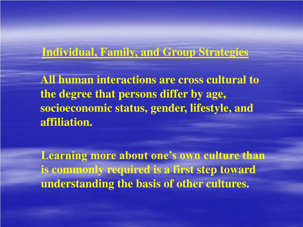 Individual, Family, and Group Strategies