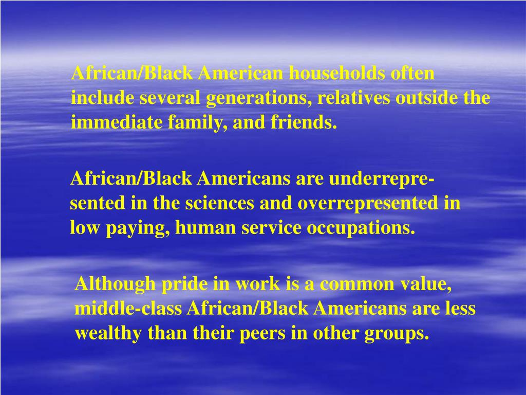 African/Black American households often include several generations, relatives outside the immediate family, and friends.