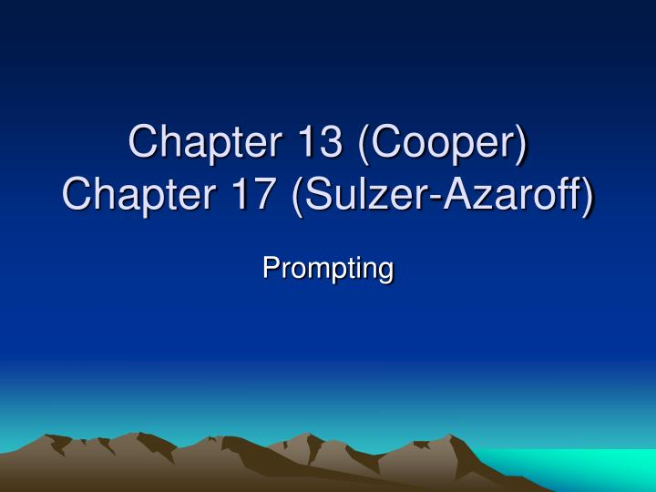 Chapter 13 (Cooper)