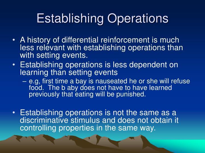Establishing Operations