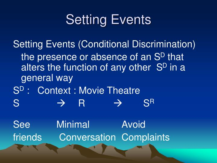 Setting Events