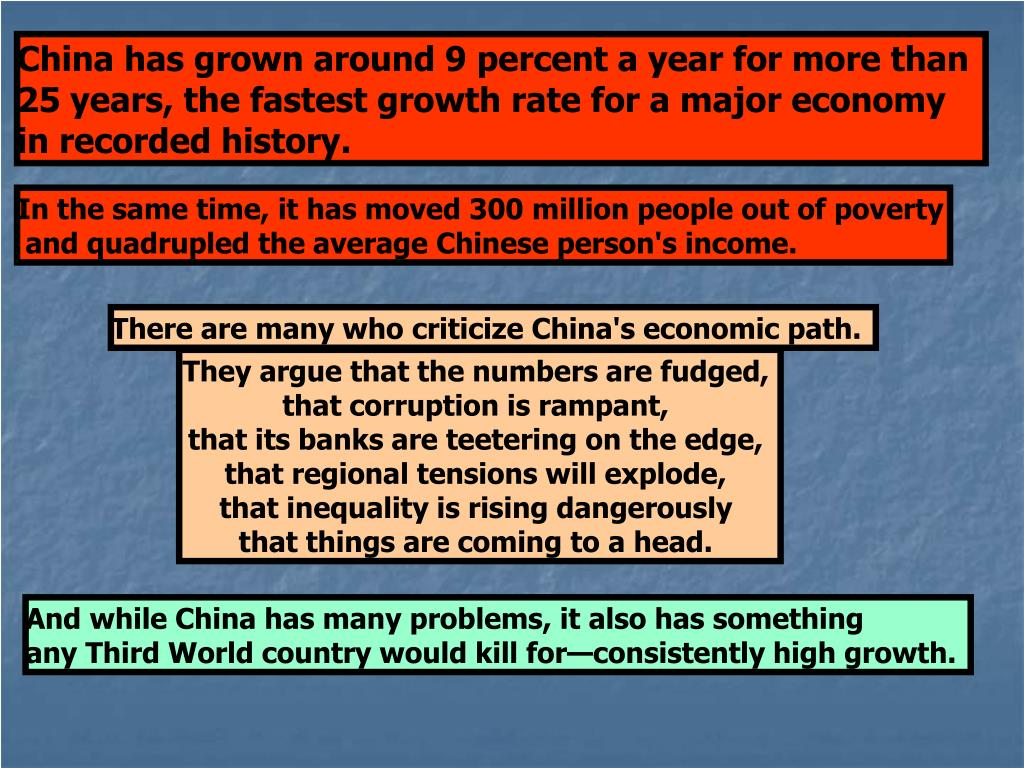 China has grown around 9 percent a year for more than