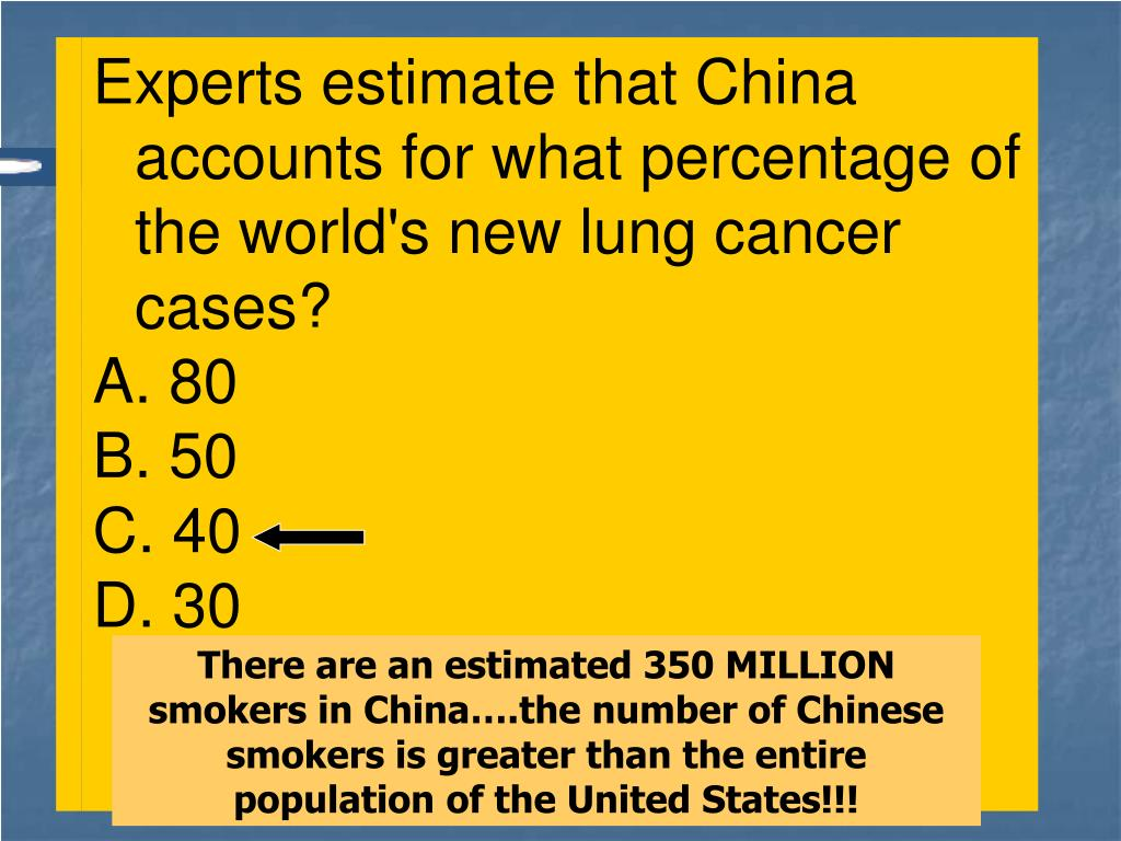 There are an estimated 350 MILLION smokers in China….the number of Chinese smokers is greater than the entire population of the United States!!!