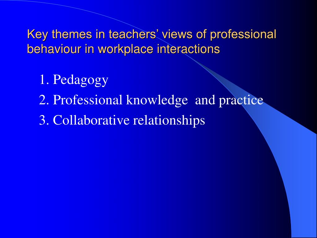 Key themes in teachers' views of professional behaviour in workplace interactions