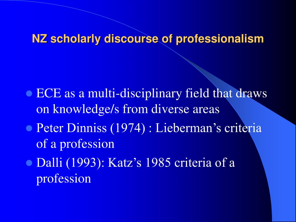 NZ scholarly discourse of professionalism