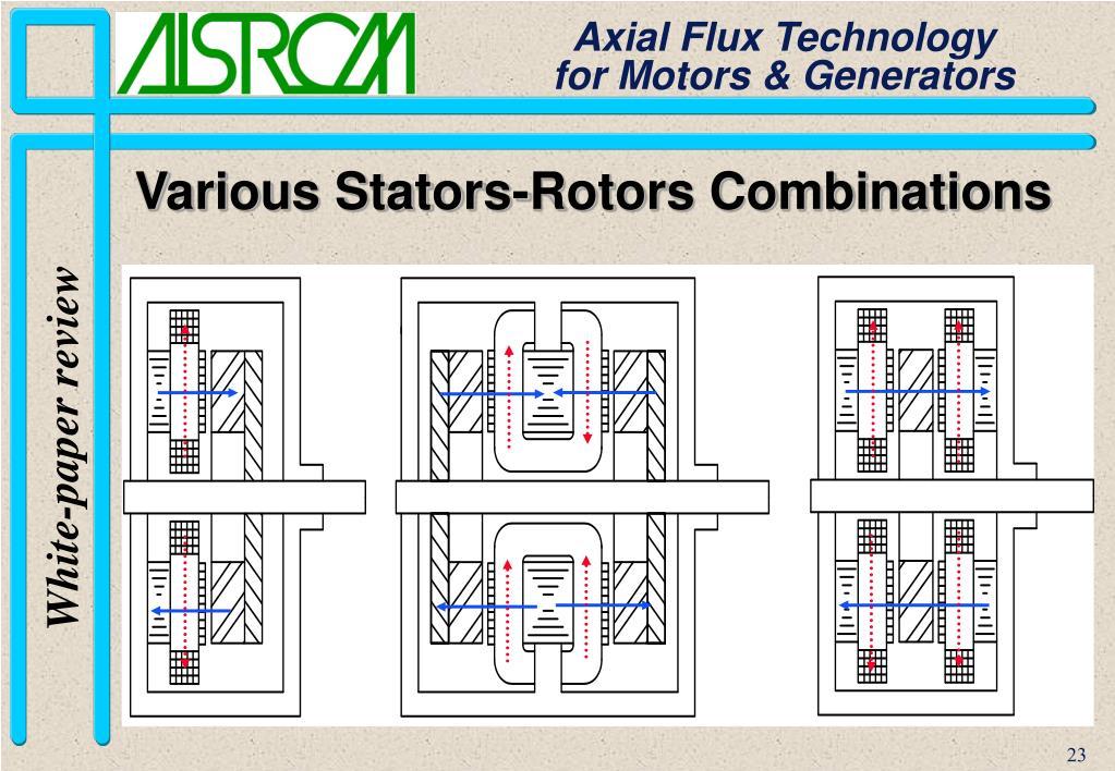 Various Stators-Rotors Combinations