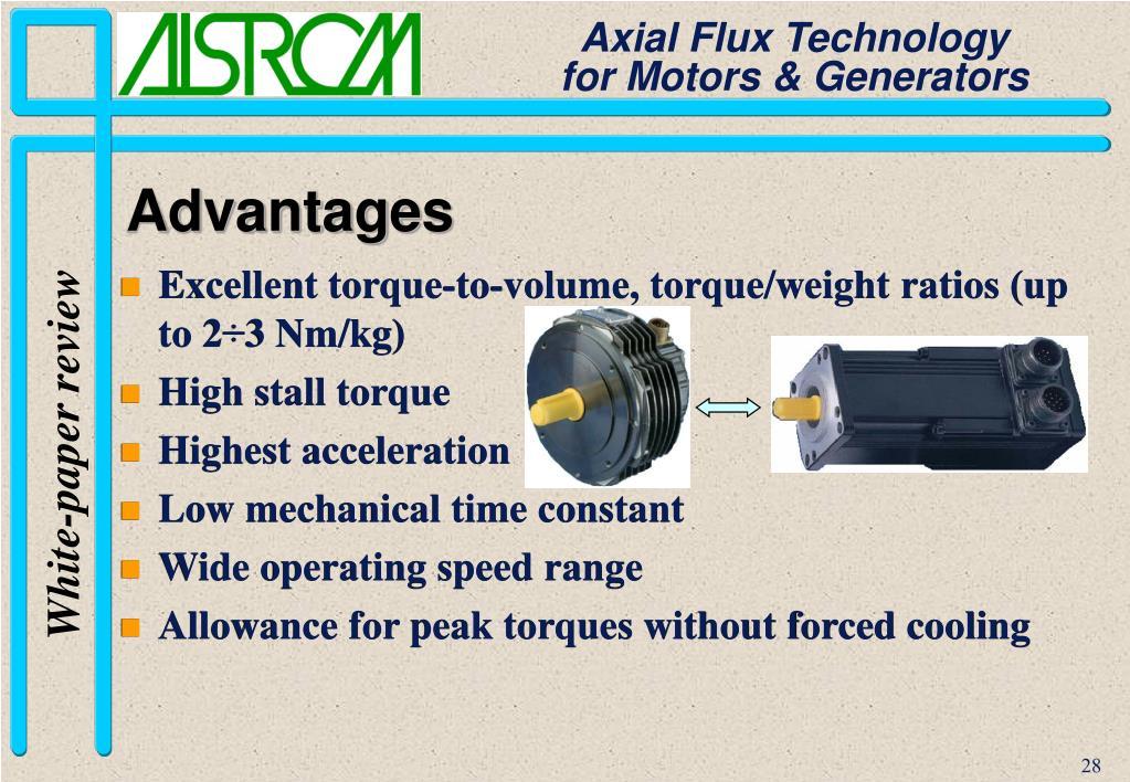 Excellent torque-to-volume, torque/weight ratios (up to 2