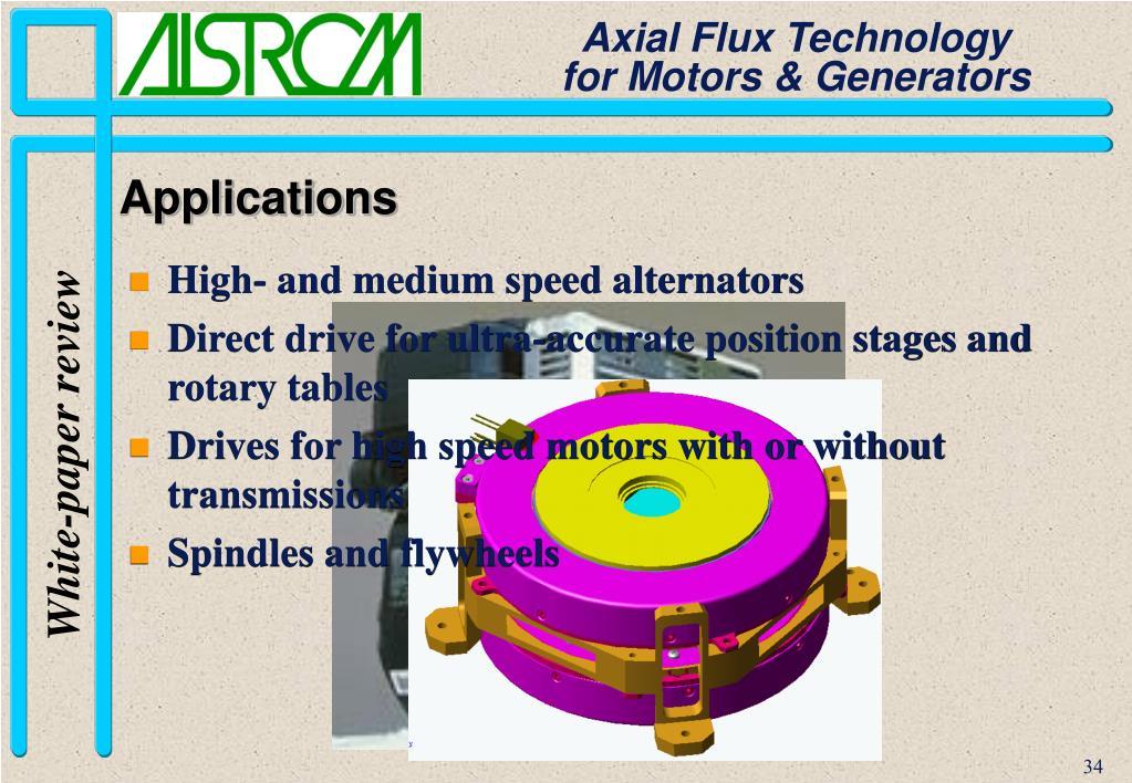 High- and medium speed alternators