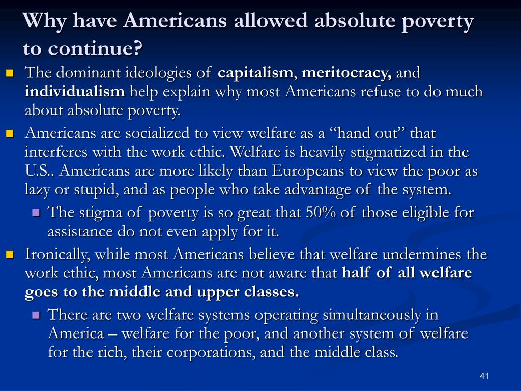 Why have Americans allowed absolute poverty to continue?