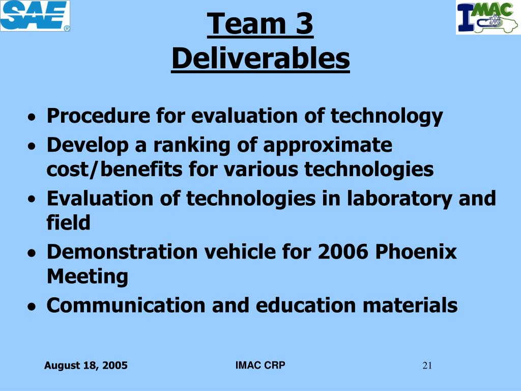 Procedure for evaluation of technology