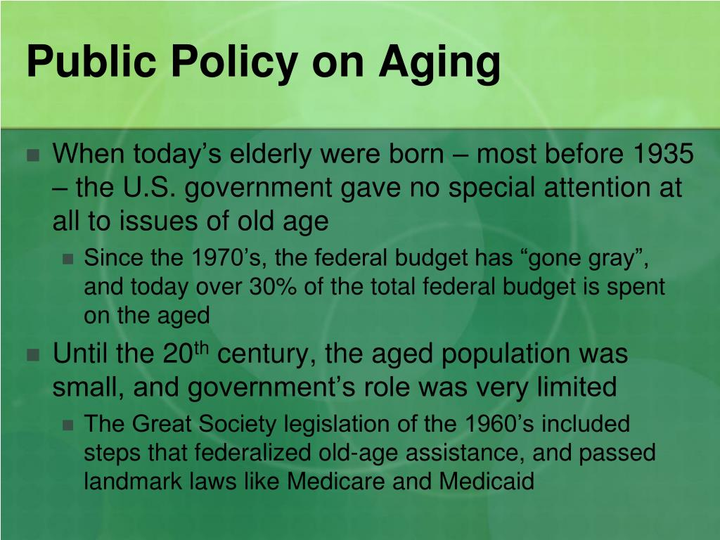 Public Policy on Aging