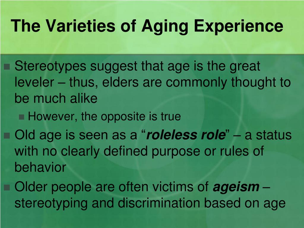 The Varieties of Aging Experience