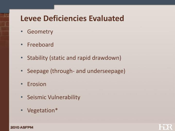 Levee deficiencies evaluated