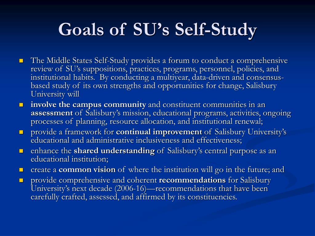 Goals of SU's Self-Study