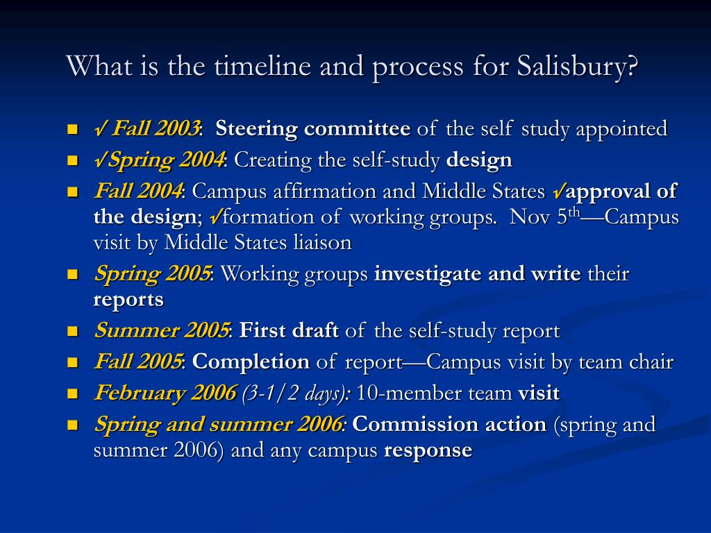 What is the timeline and process for Salisbury?