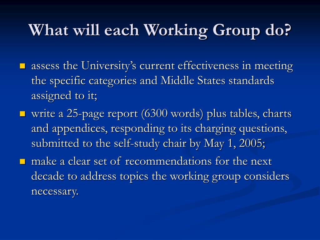 What will each Working Group do?