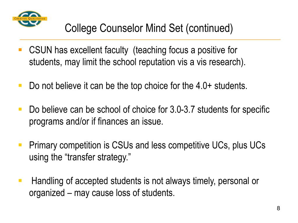College Counselor Mind Set (continued)