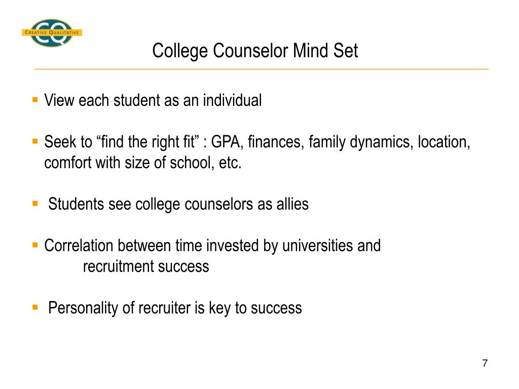 College Counselor Mind Set