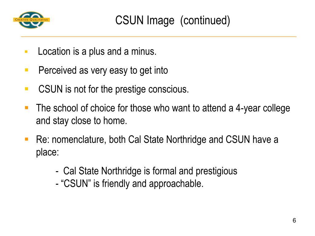 CSUN Image  (continued)