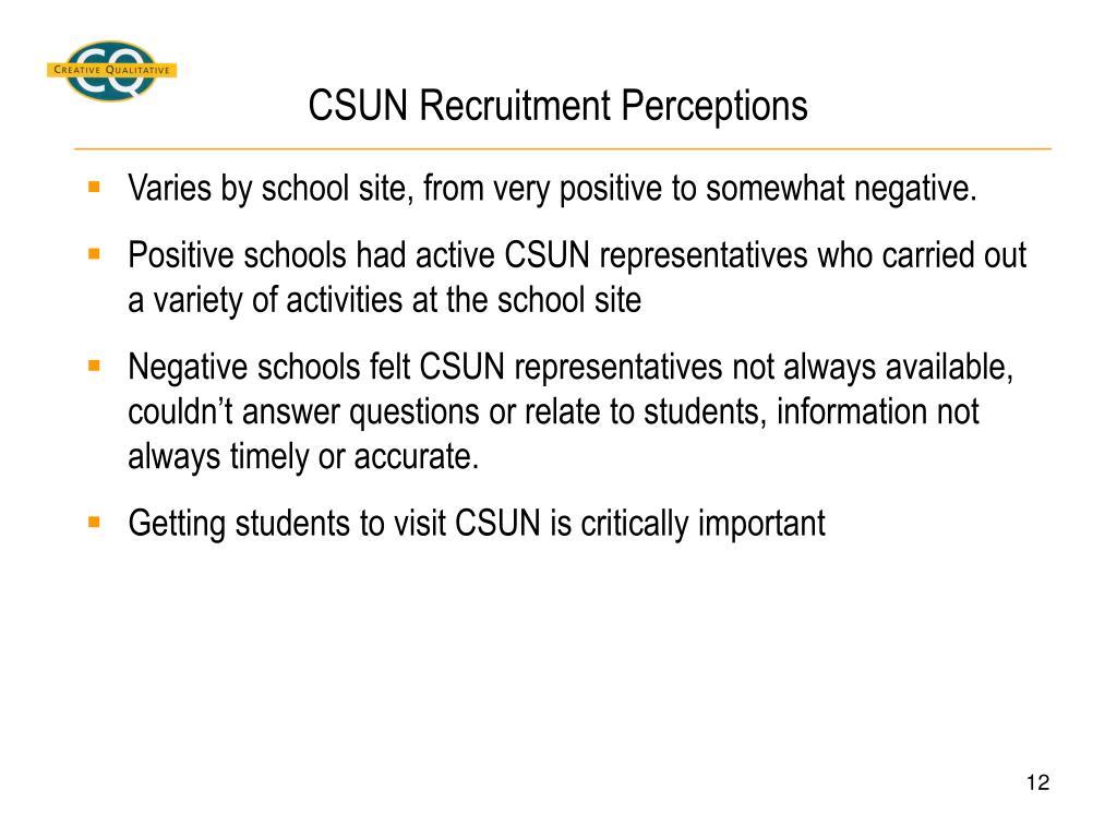 CSUN Recruitment Perceptions