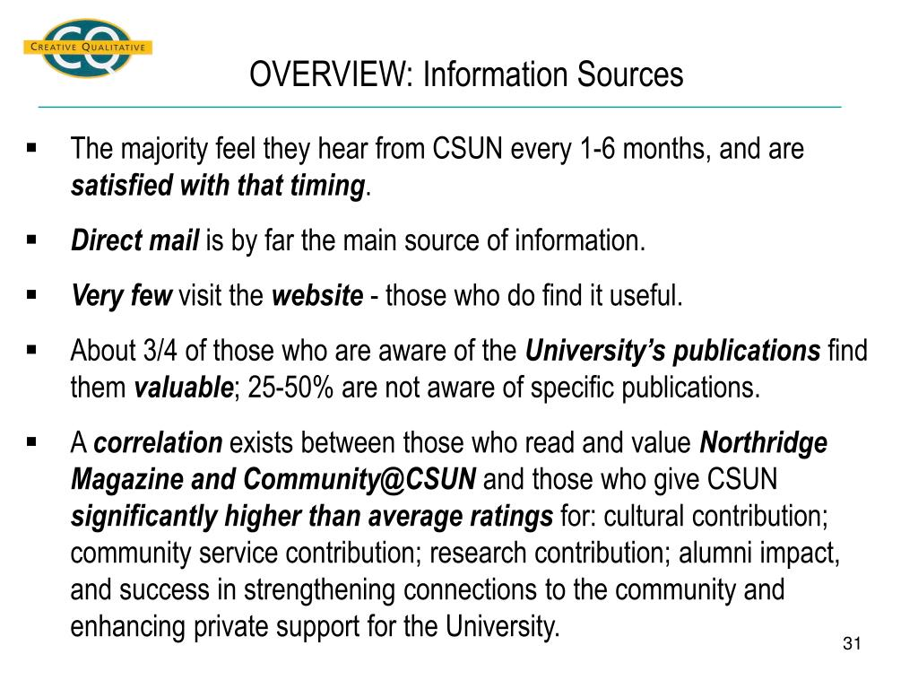 OVERVIEW: Information Sources