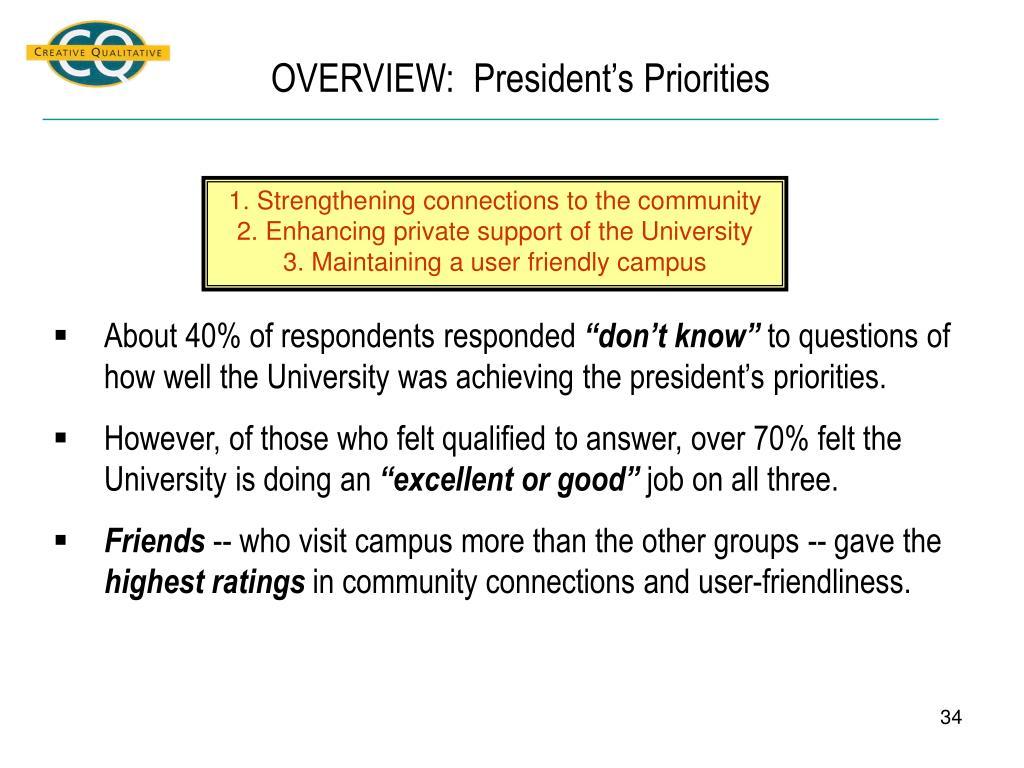 OVERVIEW:  President's Priorities