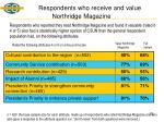 respondents who receive and value northridge magazine