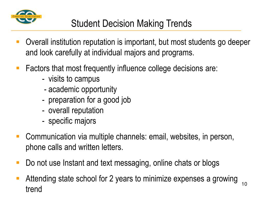 Student Decision Making Trends