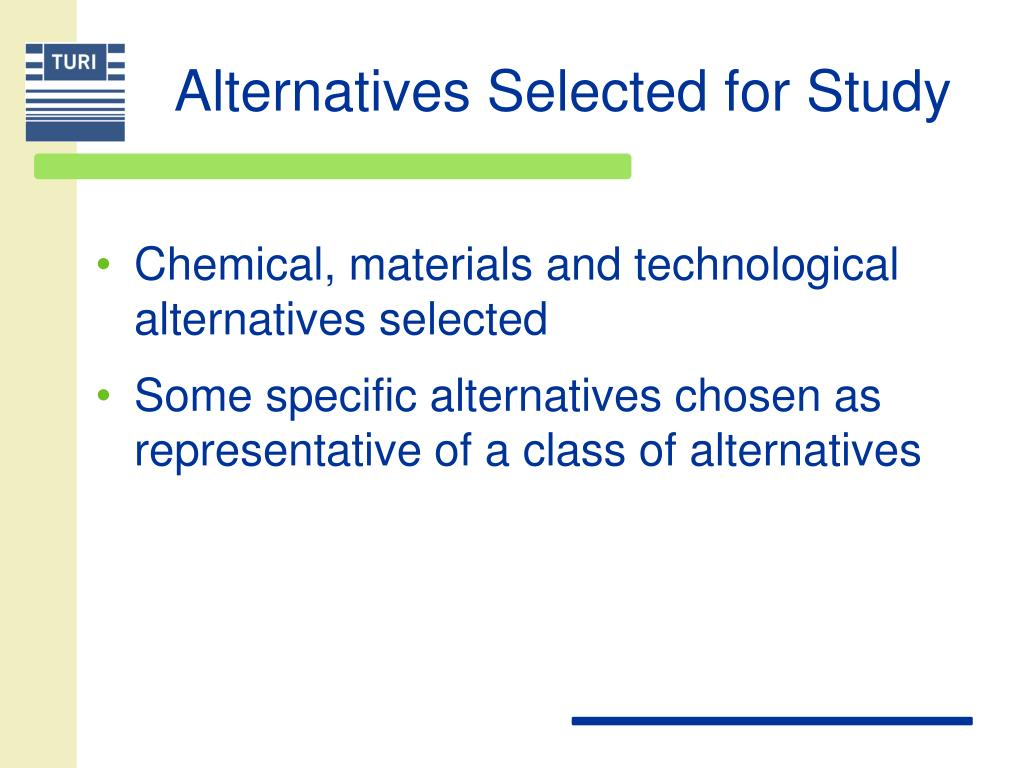 Alternatives Selected for Study