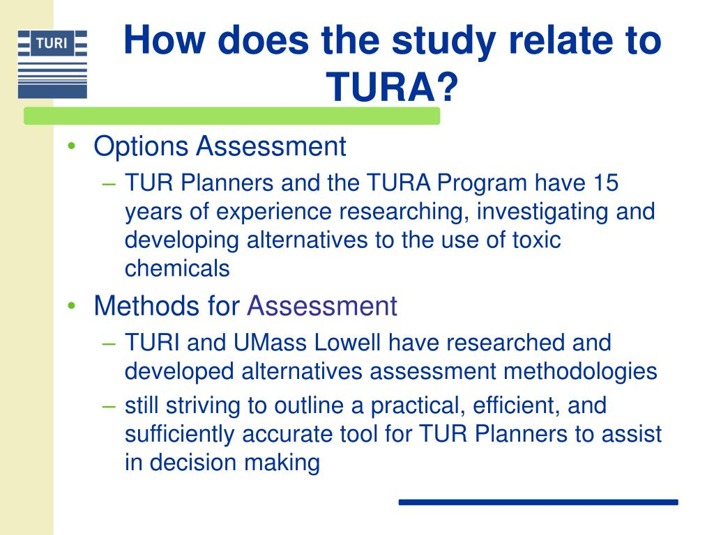 How does the study relate to TURA?