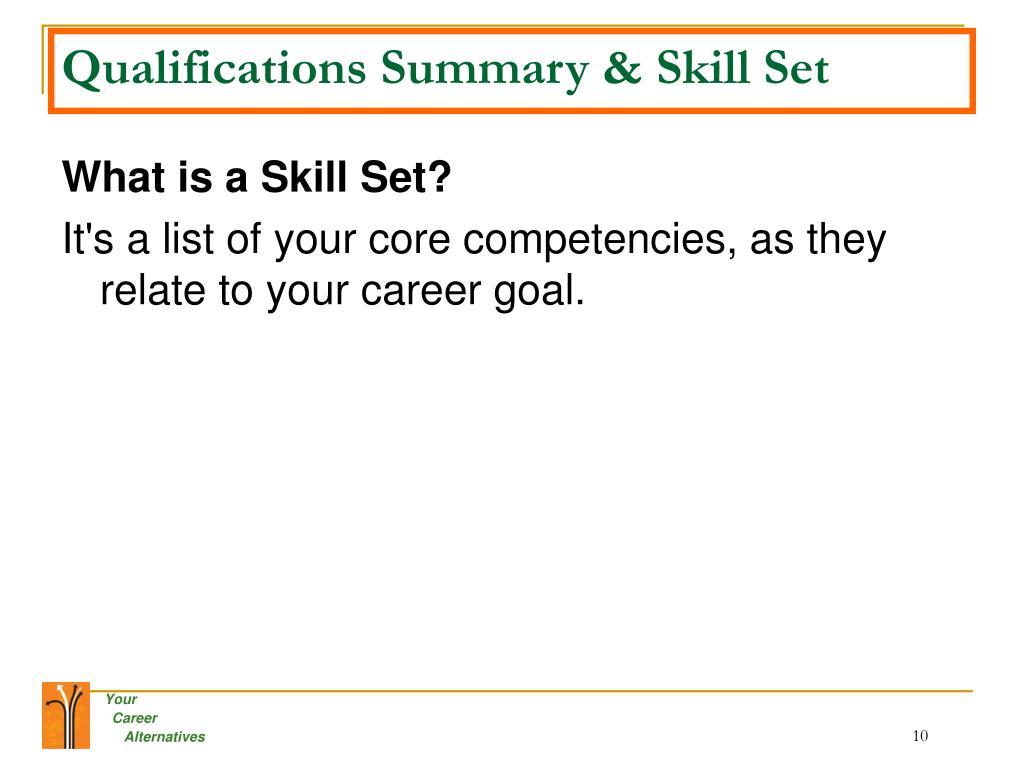 Qualifications Summary & Skill Set