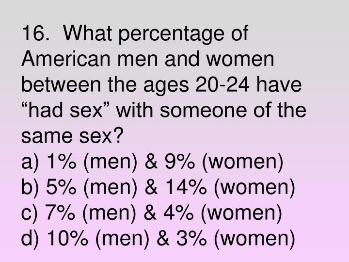 "16.  What percentage of American men and women between the ages 20-24 have ""had sex"" with someone of the same sex?"