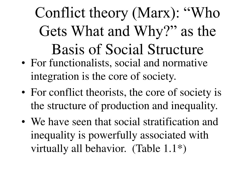 """Conflict theory (Marx): """"Who Gets What and Why?"""" as the Basis of Social Structure"""