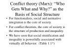 conflict theory marx who gets what and why as the basis of social structure
