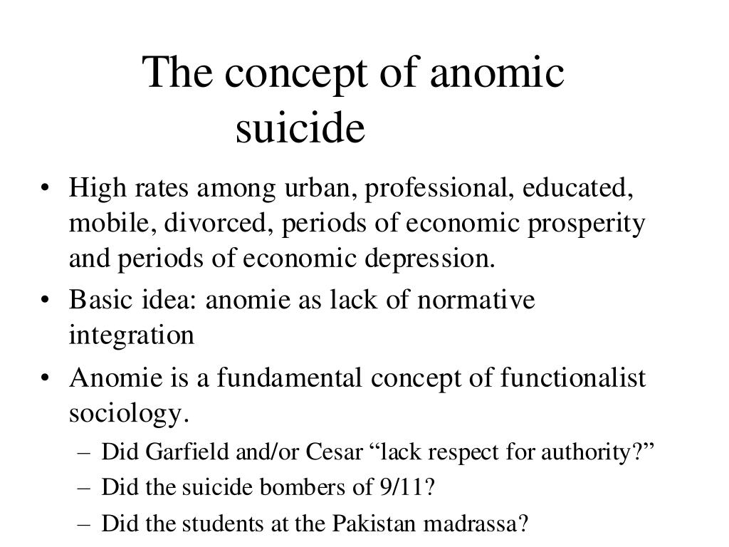 The concept of anomic suicide