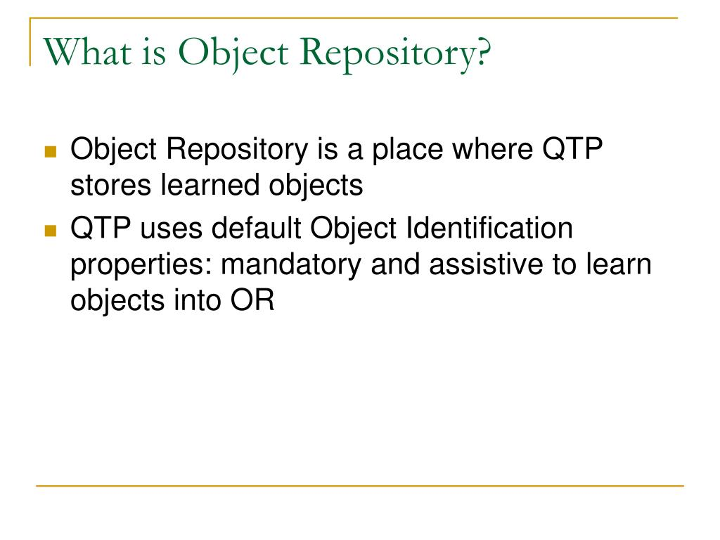 What is Object Repository?